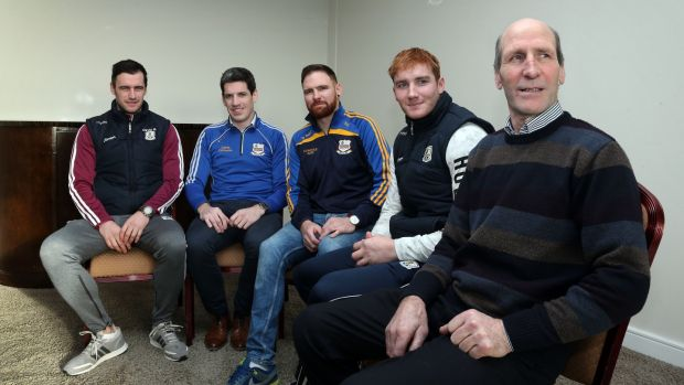 Galway captain David Burke, Justin Fahy, Kilbeacanty chairman, Shane Donohue, Niall's brother, Galway hurler Conor Whelan, cousin of Niall, and Francis Donohue, Niall's father. Photograph: Joe O'Shaughnessy