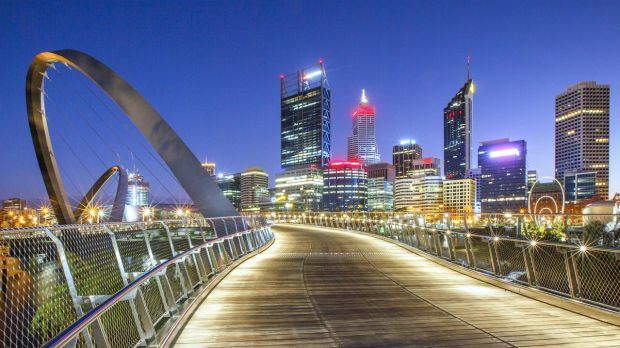 Elizabeth Quay, Perth, just before sunrise, as seen from the new Elizabeth Quay bridge. File photograph: Getty Images