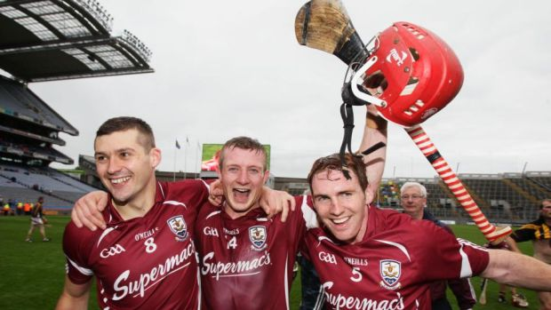Galway's Iarla Tannian, Joe Canning and Niall Donohue celebrate the Leinster final win over Kilkenny in 2012. Photograph: Cathal Noonan/Inpho