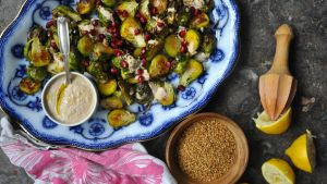 Roast sprouts with homemade tahini sauce