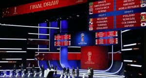 General view of the stage during the final draw of the Fifa World Cup 2018 at the State Kremlin Palace in Moscow, Russia. Photo: Sergei Chirikov/EPA