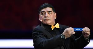 Argentina's former midfielder Diego Maradona draws out England during the World Cup final draw in Moscow. Photograph: Getty Images