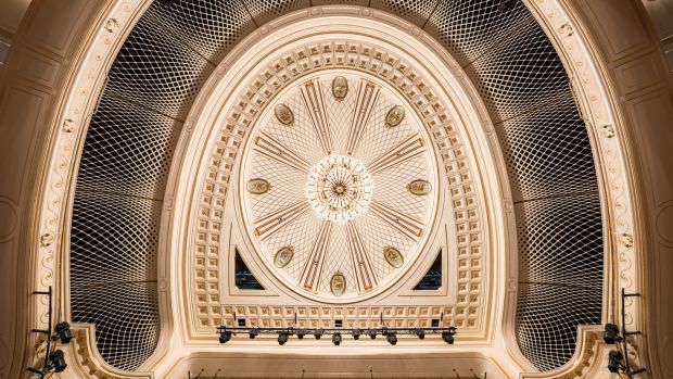 The Staatsoper ceiling: House conductor Daniel Barenboim demanded the ceiling be raised five metres, increasing the auditorium's volume (size) by a third to improve acoustics. Photograph: Gordon Welters