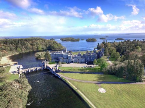 Ashford Castle, County Mayo. Aerial view from north.