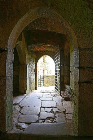 View to tower house entrance. Blarney Castle, County Cork