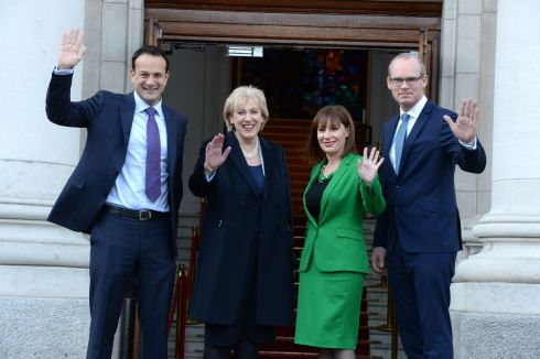 THURSDAY: Taoiseach Leo Varadkar with the new Tánaiste Simon Coveney, Minister for Enterprise Heather Humphreys and new Minister for Arts Josepha Madigan at Government Buildings. Photograph: Cyril Byrne/The Irish Times
