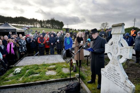 THURSDAY: Poet Theo Dorgan reading 'Memory of My Father' at the grave side of Patrick Kavanagh in Inniskeen, Co Monaghan, as part of a tribute to mark the 50th anniversary of the poet's death. Photograph: Alan Betson/The Irish Times