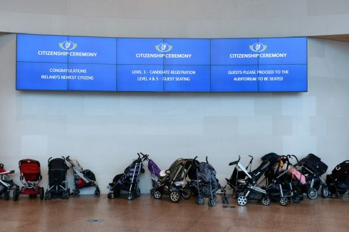 MONDAY: Baby buggies at the Irish citizenship ceremony at the Convention Centre Dublin. Photograph: Dara Mac Donaill/The Irish Times