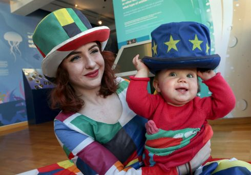 WEDNESDAY: Aoife Ryan of Galway Community Circus with Siún Duggan (10 months) from Salthill at Galway City Museum for the Baboró International Arts Festival for Children's announcement of details of Wide Eyes, a one-off four-day European celebration of performing arts for babies and children. Photograph: Joe O'Shaughnessy