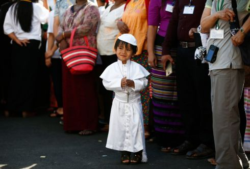 THURSDAY: A young boy wearing a Catholic priest dress is seen outside Saint Mary's Cathedral, Myanmar's largest cathedral, where Pope Francis leads the Holy Mass with Catholic youth, in Yangon, Myanmar. Photograph: Lynn Bo Bo/EPA