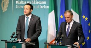Taoiseach Leo Varadkar and European Council President Donald Tusk speaking at a joint press conference at the Government buildings on Friday afternoon. Photograph:  Paul Faith/AFP/Getty Images