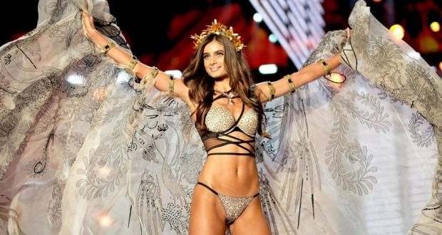 0369568fce Victoria s Secret Angel Taylor Hill in the lingerie brand s 2017 fashion  show.