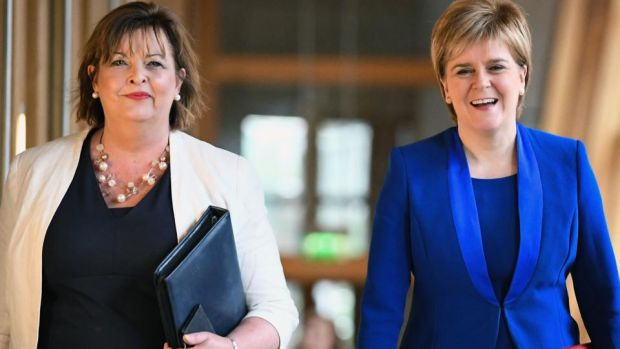 Scotland's First Minister, Nicola Sturgeon, and Fiona Hyslop. Photograph: Jeff J Mitchell/Getty Images