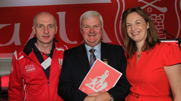 GAA president Aogán Ó Fearghail, centre, with Cuala's Declan Cronin of the Startegic Plan Steering Group and former GAA Director of Communications Lisa Clancy, a member of the expert advisory panel.