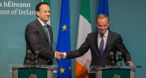 Taoiseach Leo Varadkar with Donald Tusk, president of the European Council at Government Buildings in  Dublin on Friday. Photograph: Gareth Chaney/Collins