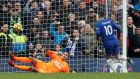 Chelsea's Eden Hazard scores their third goal from the penalty spot in a 3-1 Premier League win over Newcastle. Photo: David Klein/Reuters