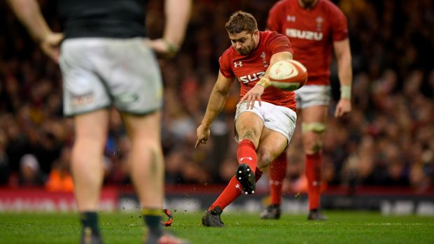 Leigh Halfpenny kicks the winning penalty against South Africa. Photograph: Stu Forster/Getty Images