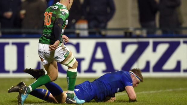 Leinster's Jordi Murphy scores a try against Treviso. Photograph: Elena Barbini/Inpho