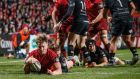 Munster's Chris Cloete scores thier third try. Photograph: James Crombie/Inpho