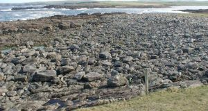 The deposit of boulders in North Co Mayo, some of over 50 tonnes, which were thrown onto the foreshore due to a storm surge.