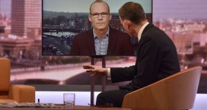 BBC host Andrew Marr interviewing Tánaiste Simon Coveney via video link on his programme on Sunday. Photograph: Jeff Overs/BBC/PA Wire.