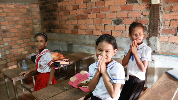 Children at the Cambodia Asean International School in Anlong Veng, northern Cambodia. Photograph: Nevenka Lukin