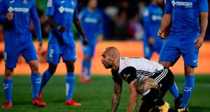 Valencia's Italian forward Simone Zaza reacts after missing a goal opportunity at the Coliseum Alfonso Perez stadium in Getafe. Photograph: Getty Images