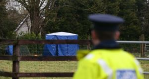 Gardaí preserve the scene at Waterstown, Co Meath, where Kane McCormack's body was found. Photograph: Stephen Collins/Collins Photos