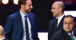 England's Gareth Southgate speaks with Roberto Martinez at the World Cup draw in Russia. Photo: Kirill Kudryavtsev/Getty Images