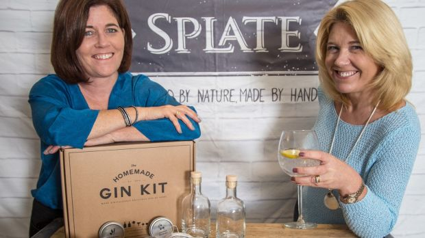Bernie Cotter and her sister Trish Clyne with Splate's new homemade gin kits.