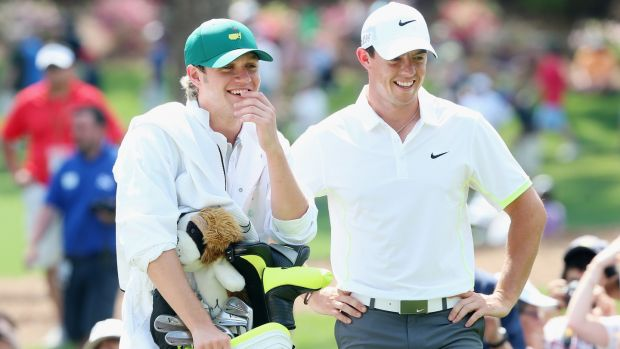 Niall Horan and Rory McIlroy at the US Masters. Photograph: Getty Images