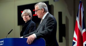 British prime minister Theresa May and European Commission president Jean-Claude Juncker told a press conference in Brussels this afternoon of failure to achieve a deal on Monday on key Brexit issues. Photograph: Virginia Mayo/AP Photo