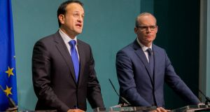 Taoiseach Leo Varadkar and Tánaiste Simon Coveney  at Government Press Centre on Monday evening. Photograph:  Gareth Chaney/Collins Photos