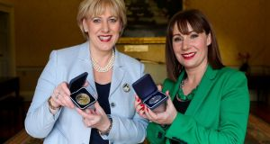 Minister for Arts, Heritage and the Gaeltacht Josepha Madigan (right)  with Minister for Business, Enterprise and Innovation Heather Humphreys  at Áras an Uachtaráin last week.