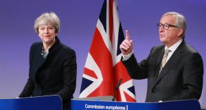 British prime minister Theresa May and European Commission president Jean-Claude Juncker give a press briefing after a meeting  in Brussels. Photogrpaph: Olivier Hoslet/EPA