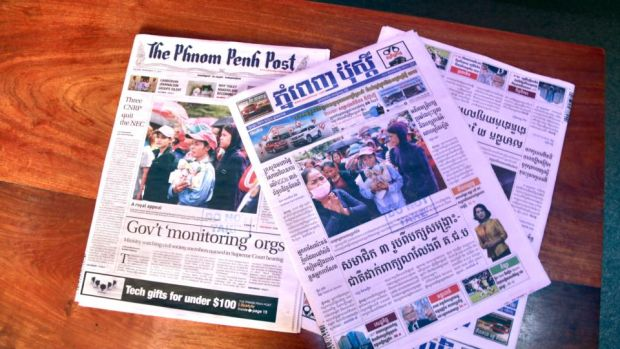Cambodian media: English and Khmer editions of the Phnom Penh Post. Photograph: Nevenka Lukin