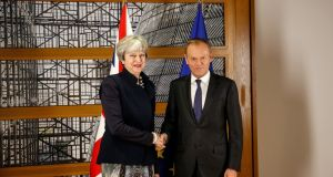 UK prime minister Theresa May and Donald Tusk, president of the European Union,  in Brussels on  December 4th, 2017.  Photograph: Dario Pignatelli/Bloomberg