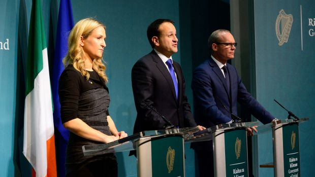 Minister of State for European Affairs Helen McEntee, Taoiseach Leo Varadkar and Tánaiste and Minister for Foreign Affairs Simon Coveney make a statement on Brexit negotiations on Monday evening at the Government Press Centre in Dublin. Photograph: Cyril Byrne