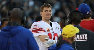 Eli Manning of the New York Giants during the game against the Oakland Raiders. Photograph: Jim Wilson/The New York Times