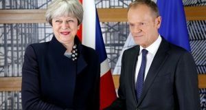 British prime minister Theresa May and European Council president Donald Tusk. The collapse of a deal on the Border in Ireland exposed May's political weakness in shambolic fashion. Photograph: Francois Lenoir/Reuters