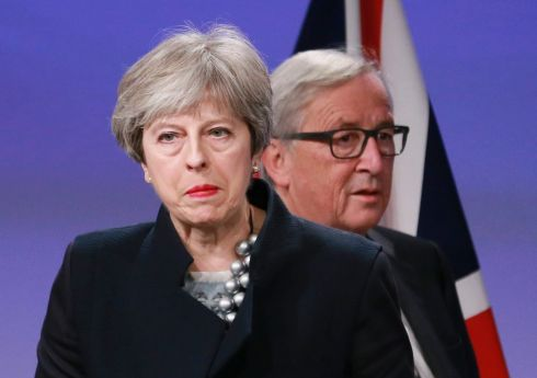 BREXIT BLUES: British prime minister Theresa May and European Commission president Jean-Claude Juncker prepare to announce the failure to complete a deal on the Irish Border after a meeting in Brussels, Belgium. Photograph: Olivier Hoslet/EPA