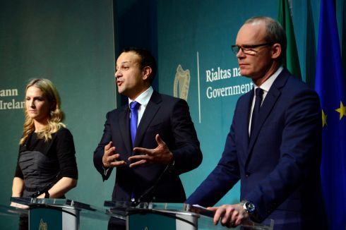 DON'T BLAME US: Taoiseach Leo Varadkar, flanked by Tánaiste Simon Coveney and Minister of State for European Affairs Helen McEntee, tells the press he is 'surprised and disappointed' by Theresa May's failure to follow through on an agreement over the future of the Irish Border. Photograph: Cyril Byrne/The Irish Times