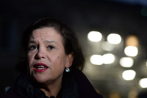NAME IN LIGHTS: Sinn Féin deputy leader Mary Lou McDonald speaking about Brexit on the plinth at Leinster House, Dublin. Photograph: Dara Mac Donaill/The Irish Times