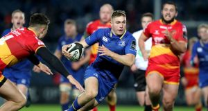 Leinster's Jordan Larmour in action against the Dragons: he decorated the eight-try win at home  with another try of his own and one inventive assist. Photograph: Dan Sheridan/Inpho