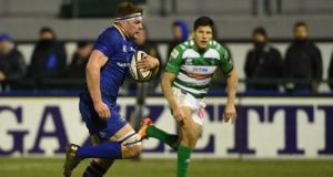 Leinster's Jordi Murphy runs in a try against Treviso last weekend. Photograph: Elena Barbini/Inpho