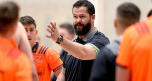Ireland defence coach Andy Farrell at Munster squad training in UL on Monday. Photograph: Dan Sheridan/Inpho