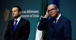 Mood swings: Taoiseach Leo Varadkar and Tánaiste Simon Coveney at a press conference at Government buildings. Photograph: Clodagh Kilcoyne/Reuters