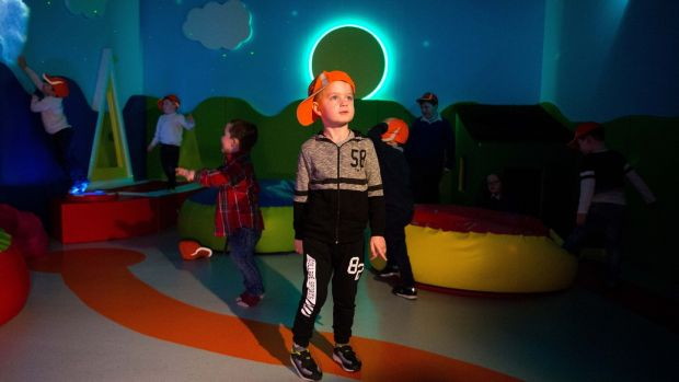 Enjoying the Sensory Room at Shannon Airport was Ryan Cunningham (4), from Gaelscoil Donncha Rua, Shannon, Co Clare. Photograph: Diarmuid Greene