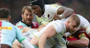 Harlequins' Chris Robshaw and Saracens' Maro Itoje during their Aviva Premiership match at Twickenham Stoop. Photo: Paul Harding/PA Wire