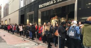 The queue outside Victoria's Secret on Grafton Street before it opened its doors at 10am on Tuesday, December 5th. Photograph: Tanya Sweeney